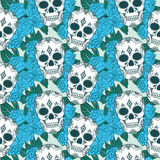 Vector seamless pattern with skulls. Stock Images