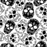 Vector seamless pattern with skulls Royalty Free Stock Photo