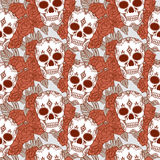 Vector seamless pattern with skulls. Royalty Free Stock Images