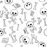 Vector seamless pattern with skulls and bones. On white background Royalty Free Stock Photos