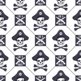 Vector seamless pattern with skulls, old pistols and bones.  Stock Photo