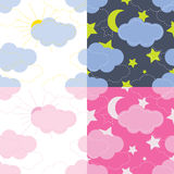 Vector seamless pattern of the sky, moon, stars Stock Photo