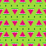 Vector seamless pattern with sliced watermelon in summer  style. Vector seamless pattern with sliced watermelon in summer cute style Stock Photo