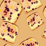 Vector seamless pattern, slices of bread Stock Photos
