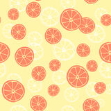 Vector seamless pattern with slices of grapefruit.. Fruit background Royalty Free Stock Images