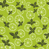 Vector seamless pattern with slices of lemon and mint. Mojito drink. Fabric texture. Vector seamless pattern with slices of lemon and mint. Mojito drink royalty free illustration