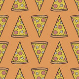 Vector seamless pattern with slices of pizza Royalty Free Stock Photography