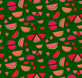 Vector seamless pattern of slices  watermelon Stock Photos