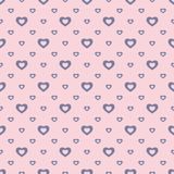 Vector romantic seamless pattern with small outline blue hearts stock illustration