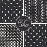 Vector seamless pattern with small skulls and dots Royalty Free Stock Photography