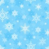 Vector seamless pattern with snowflakes on light blue background. Can be used for greeting cards, posters, brochures, wrapping paper, web or graphic design Royalty Free Stock Photos