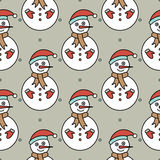 Vector seamless pattern with snowmans Stock Photos