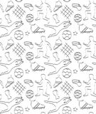 Vector seamless pattern with soccer players and balls. Black and white Stock Images