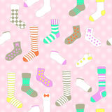Vector seamless pattern with socks in pastel colors. Vector seamless pattern with socks, pastel colors Royalty Free Stock Images