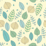Vector Seamless pattern in soft tones with sample doodle leaves.Doodle leaves vector illustration. Vector Seamless pattern in soft tones with sample doodle Stock Photo