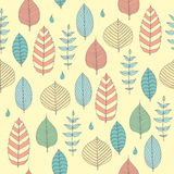 Vector Seamless pattern in soft tones with sample doodle leaves.Doodle leaves vector illustration. Vector Seamless pattern in soft tones with sample doodle Stock Image