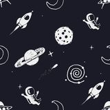 Seamless pattern with space objects Royalty Free Stock Photography