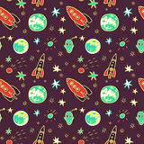 Vector seamless pattern with  space rockets, planets and stars Royalty Free Stock Images