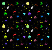 Vector seamless pattern with space ships, astronauts, planets, aliens, stars on a black background.  Royalty Free Stock Image