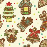 Vector Seamless Pattern Spice-cake. Vector Pattern Christmas Spice-cake. Ginger cookies Stock Photos