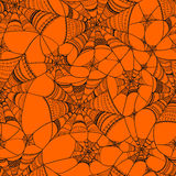 Vector seamless pattern with  spider web on orange Royalty Free Stock Photos