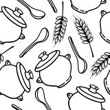 Vector seamless pattern with spikes, pots and spoons Royalty Free Stock Photography