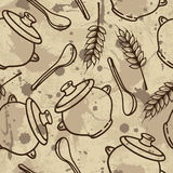 Vector seamless pattern with spikes, pots and spoons Royalty Free Stock Photos
