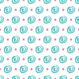 Vector seamless pattern spiral in doodle style. Hand drawing. Stock Photo