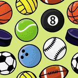 Vector seamless pattern with sport balls Stock Photography