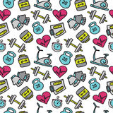 Vector seamless pattern with sport objects. Fitness accessories background in doodle style. Stock Images