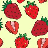 Vector seamless pattern with srawberries Stock Photos