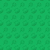 Vector seamless pattern St. Patrick s Day. Quatrefoil clover and leprechaun hat on a traditional green background Royalty Free Stock Photos