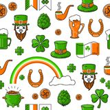 Vector seamless pattern St. Patricks Day on white background. Vector seamless pattern St. Patricks Day with cauldron, rainbow, Leprechaun. Include lucky clover Royalty Free Stock Photo