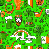 Vector seamless pattern St. Patricks Day on green background. Vector seamless pattern St. Patricks Day with cauldron, rainbow, Leprechaun. Include lucky clover Royalty Free Illustration