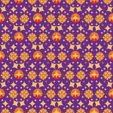 Vector seamless pattern of stars in arabesque style. Vector seamless pattern. arabisque pattern. stars pattern. colorful in gold, orange over a violet background Stock Photo