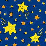 Vector seamless pattern with stars and comet on blue sky background. Graphic illustration in cute cartoon style for print, decor, fabric or textile and prints Royalty Free Stock Image