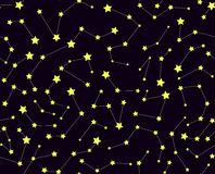 Vector seamless pattern with stars and constellations Stock Images