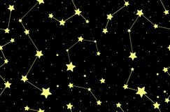 Vector seamless pattern with stars and constellations stock image