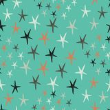 Vector seamless pattern with stars. Starry retro background. Endless stylish texture. Vector backdrop. Could be used as seamless wallpaper, textile, wrapping Royalty Free Stock Images