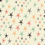Vector seamless pattern with stars. Starry retro background. Endless texture. Vector backdrop Stock Images