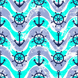 Vector seamless pattern. Steering wheel, life preserver, anchor. Creative geometric blue grunge background, nautical theme. Stock Photo