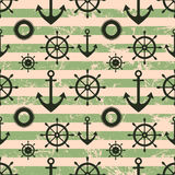 Vector seamless pattern. Steering wheel, life preserver, anchor. Stock Photos