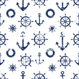 Vector seamless pattern. Steering wheel, life preserver, anchor. Creative geometric grunge background, nautical theme. Stock Photography