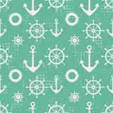 Vector seamless pattern Steering wheel, life preserver, anchor, Creative geometric vintage backgrounds, nautical theme Graphic ill. Ustration with attrition Stock Image