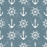 Vector seamless pattern Steering wheel, life preserver, anchor, Creative geometric vintage backgrounds, nautical theme Graphic ill. Ustration with attrition Stock Photo