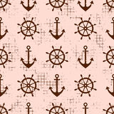 Vector seamless pattern Steering wheel, life preserver, anchor, Creative geometric vintage backgrounds, nautical theme Graphic ill. Ustration with attrition Royalty Free Stock Photo