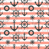 Vector seamless pattern Steering wheel, life preserver, anchor, horizontal lines Creative geometric vintage backgrounds, nautical. Theme Graphic illustration Royalty Free Stock Images