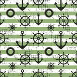 Vector seamless pattern Steering wheel, life preserver, anchor, horizontal lines Creative geometric vintage backgrounds, nautical Stock Image