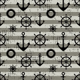 Vector seamless pattern Steering wheel, life preserver, anchor, horizontal lines Creative geometric vintage backgrounds, nautical. Theme Graphic illustration Royalty Free Stock Photography