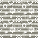Vector seamless pattern Steering wheel, life preserver, anchor, horizontal lines Creative geometric vintage backgrounds, nautical. Theme Graphic illustration Stock Photo